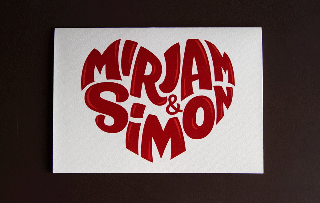 Heart-shaped lettering